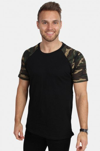 Uhrban Classics TB639 Raglan Contrast T-shirt Blk/woodcamo