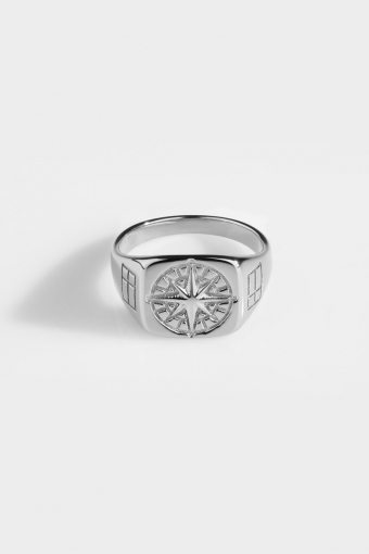 Compass SignatUhre Ring Silver