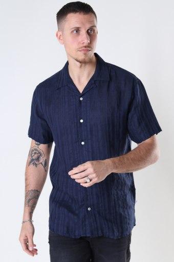 Cuba Linen striped Hemd Navy