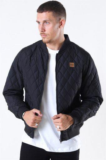 Uhrban Classics Diamond Quilt Nylon Jacket Black
