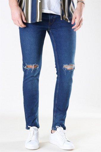 Mr. Red Knee Cut Jeans Dark Blue