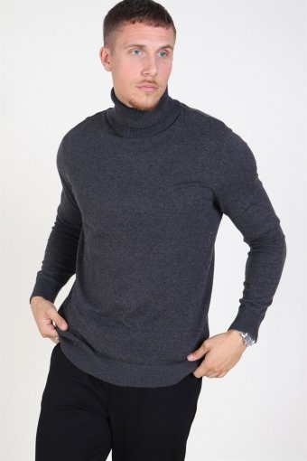Emil Turtleneck Strik Dark Grey Melange
