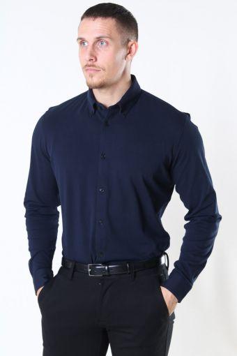 Slim Oliver Knit Flex Hemd LS Dark Sapphire