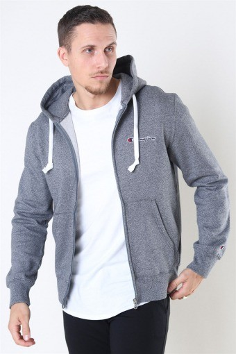 Hooded Full Zip Sweatshirt Dark Grey Melange