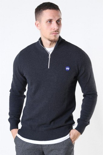 Liam Half Zip Recycle Stricken Charcoal