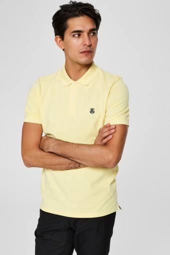 Aro S/S Embroidery Polo Hemd W Noos Mellow Yellow