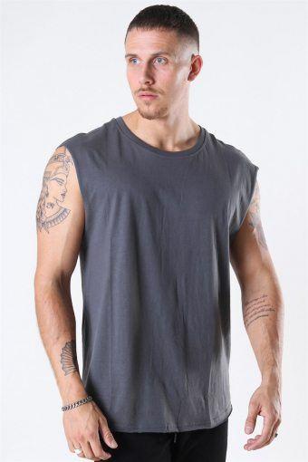 Uhrban Classics Open Edge Sleeveless T-shirt Dark Shadow