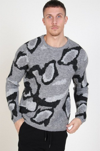 Dark Crew Neck Stricken Dark Grey Melange