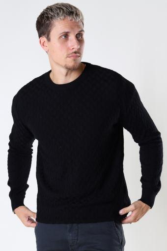 Bertil Cotton crew neck knit Black