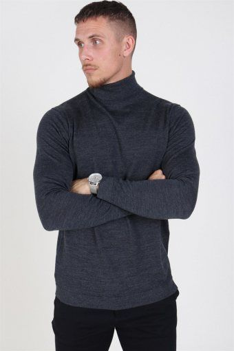 Merino Turtleneck Strik Medium Grey Melange