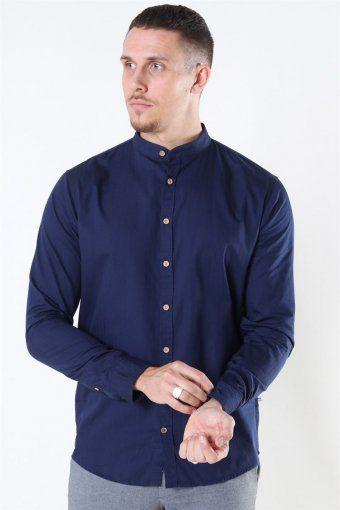 Johan Herringbone Cotton Henley Hemd Navy