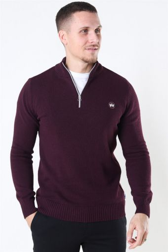 Liam Half Zip Recycle Stricken Sangria