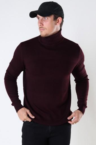 Fisker Cotton roll neck knit Bordeaux