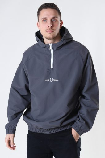EMBROID. HALF ZIP JKT G85 GUNMETAL