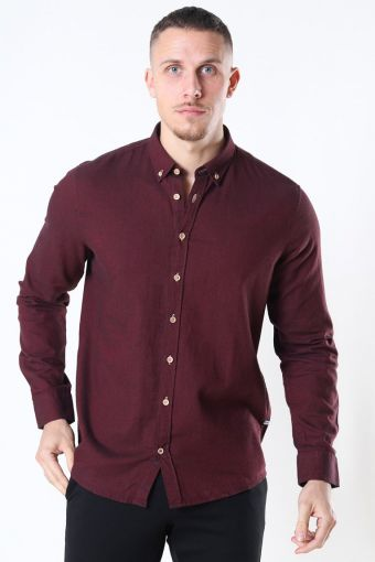 Johan Diego Cotton Hemd Bordeaux Mel
