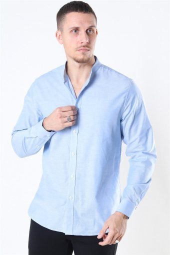 Clean Cut Oxford Stretch Mao L/S Hemd Light Blue
