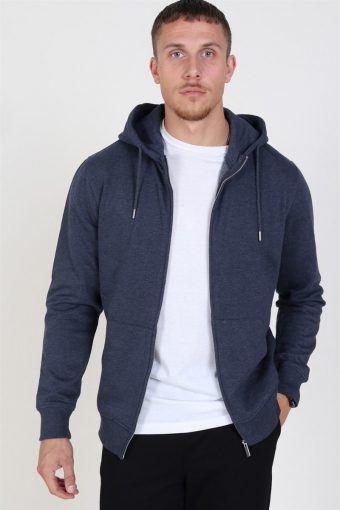 Organic Morgan Zip Sweatshirts Navy Mel