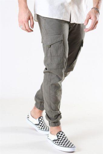 Paul Flake Linen Cargo Pants Olive Night