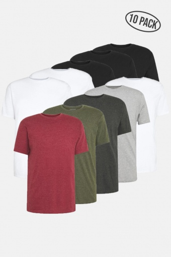 DP Longy Tee 10 Pack 3 Black/ 3 White/ 1 LGM/ 1 DGM/ 1 Olive night/ 1 B