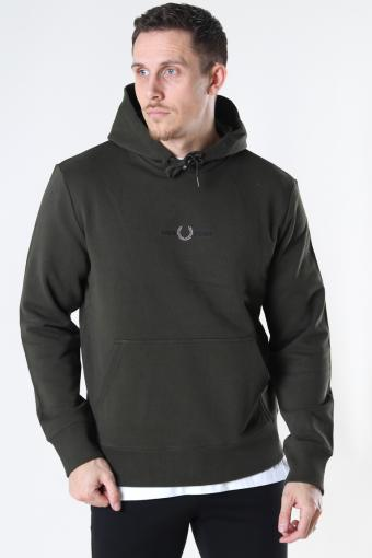 EMBROID. HOODED SWEATSH. 408 Hunting Green