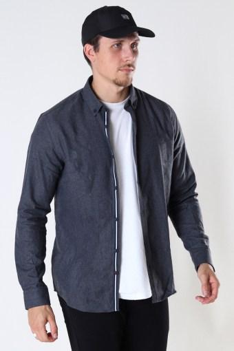 Johan Herringbone flannel Hemd Black
