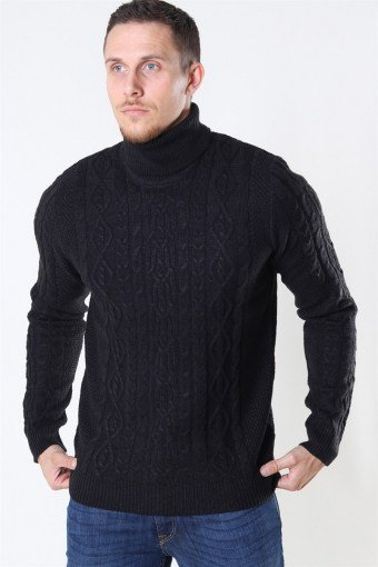 Rigge 3 Cable Roll Neck Stricken Black