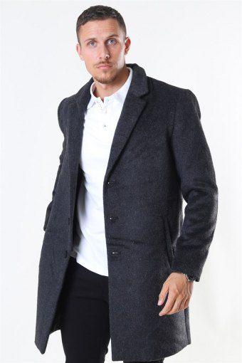 Iker Melange Uldfrakke Dark Grey Melange