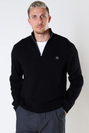 Basic Organic 1/2 Zip Knit Black