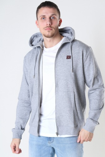 Basic Organic Zip Hood Light Grey Mel