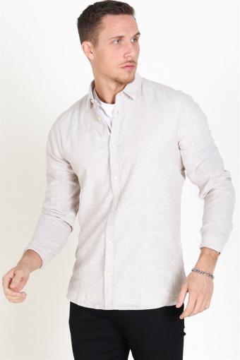 Caiden LS Solid Linen Hemd Chinchilla