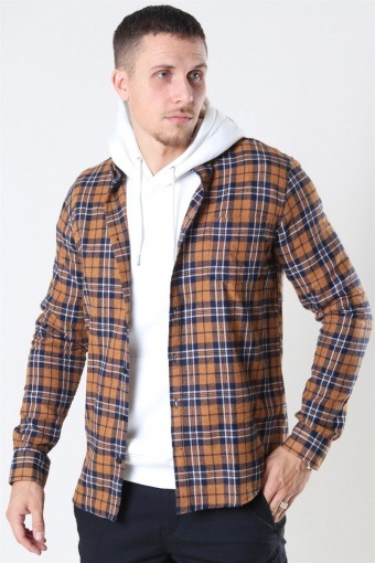 Johan Pocket Flannel Check Dark Mustard