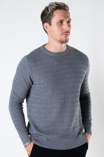 Folke Cotton crew neck knit Anthracite